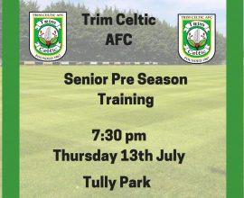 trim Celtic Pre Season Training